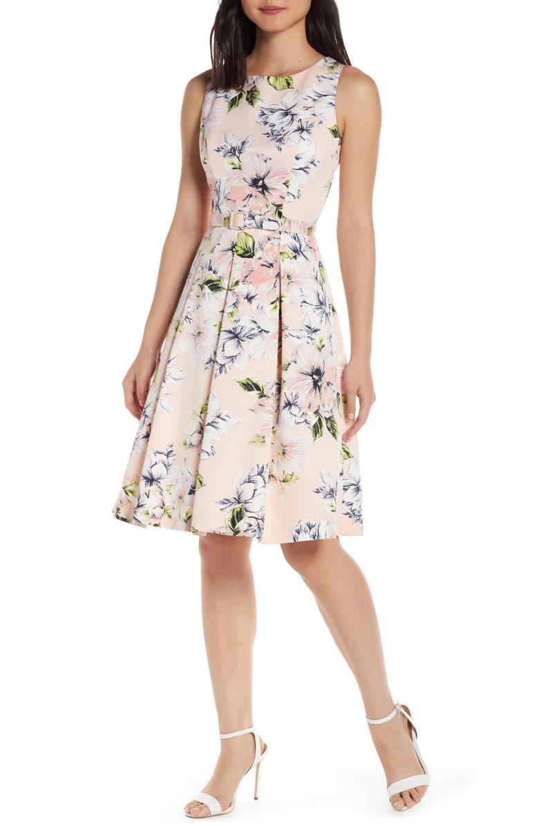 ELIZA J Floral Faille Fit & Flare Dress, Main, color, BLUSH