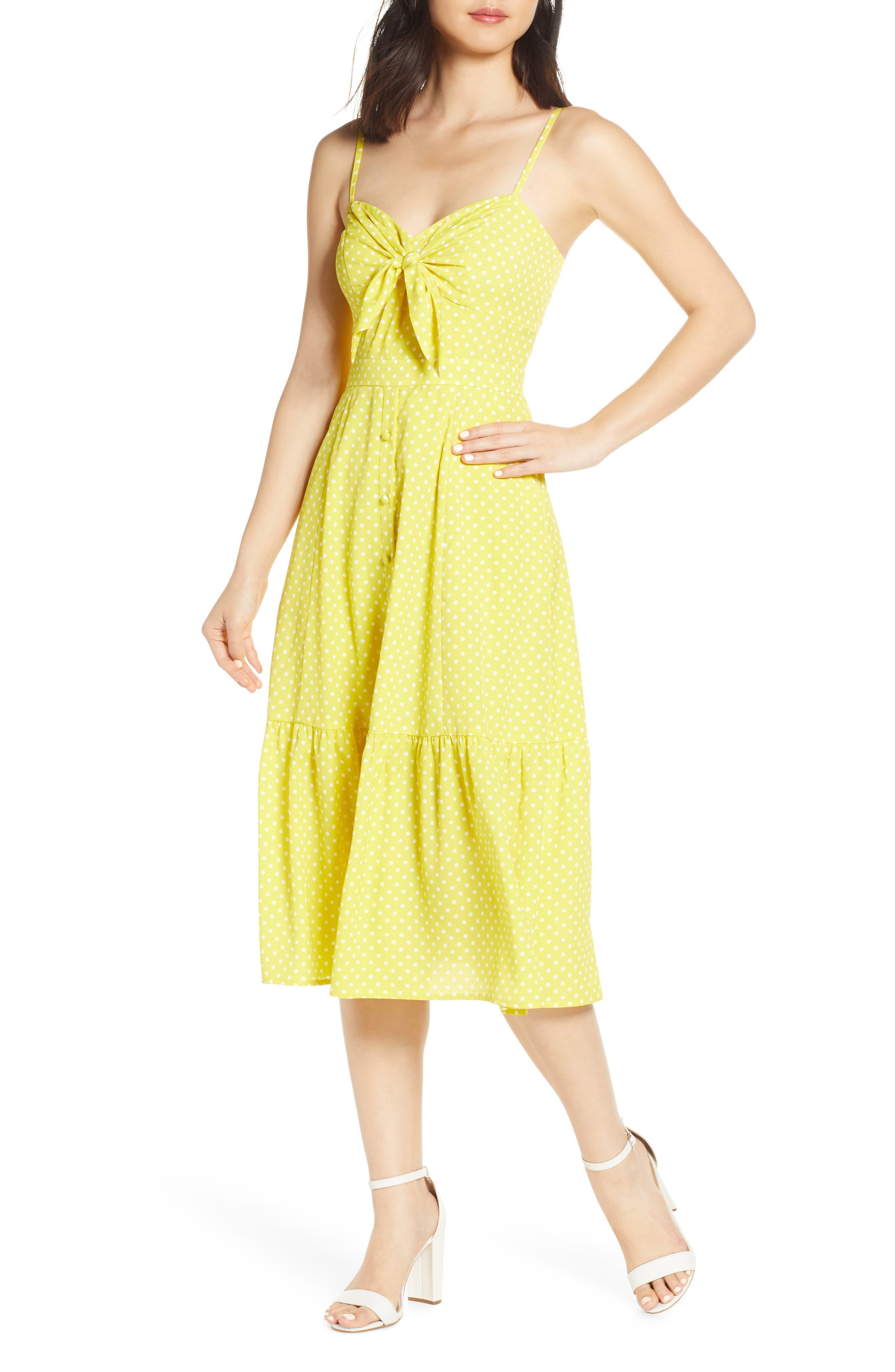 Eliza J Polka Dot Tie Front Sundress, Yellow
