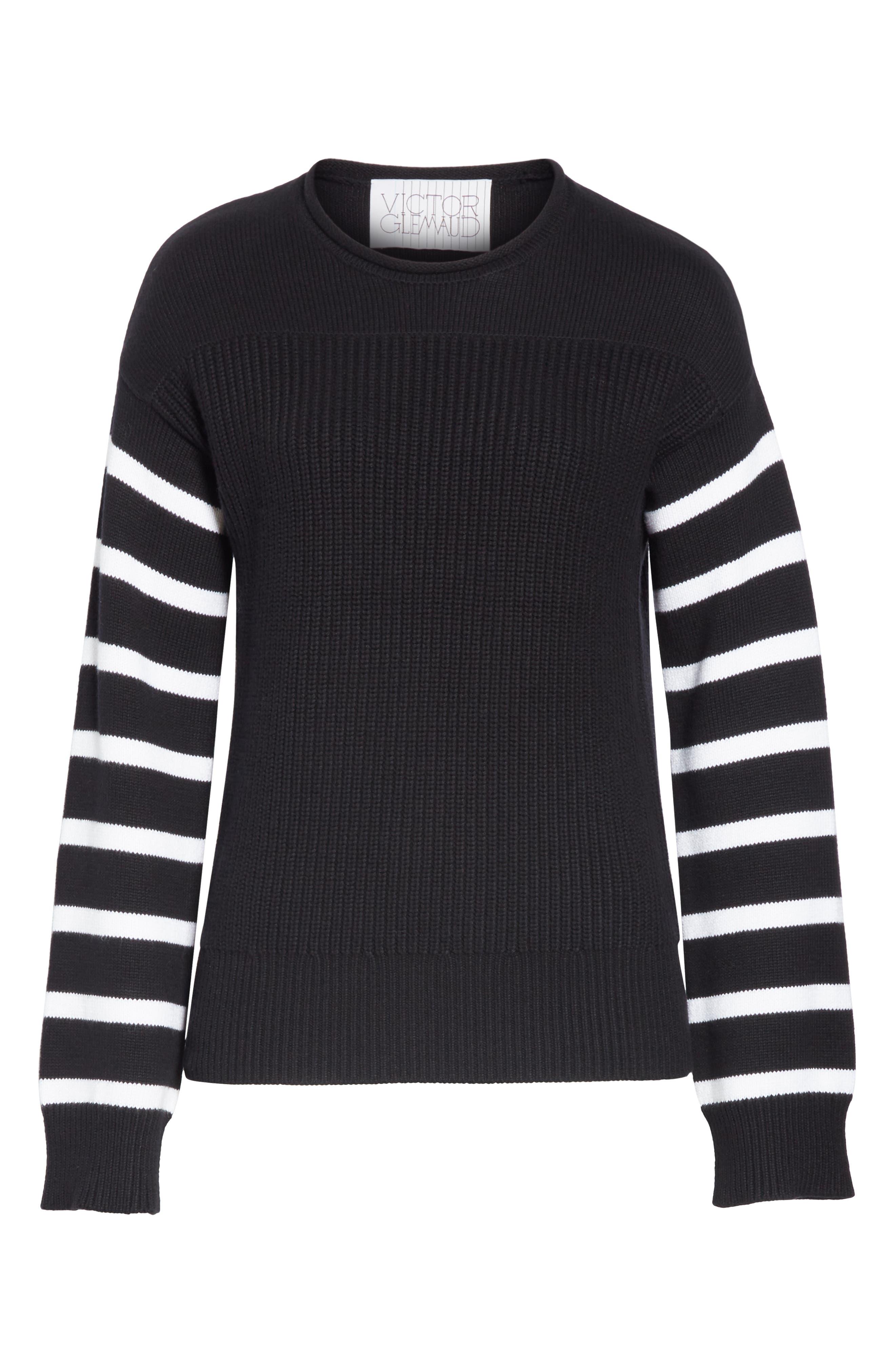 ,                             Stripe Sleeve Cotton Sweater,                             Alternate thumbnail 6, color,                             BLACK