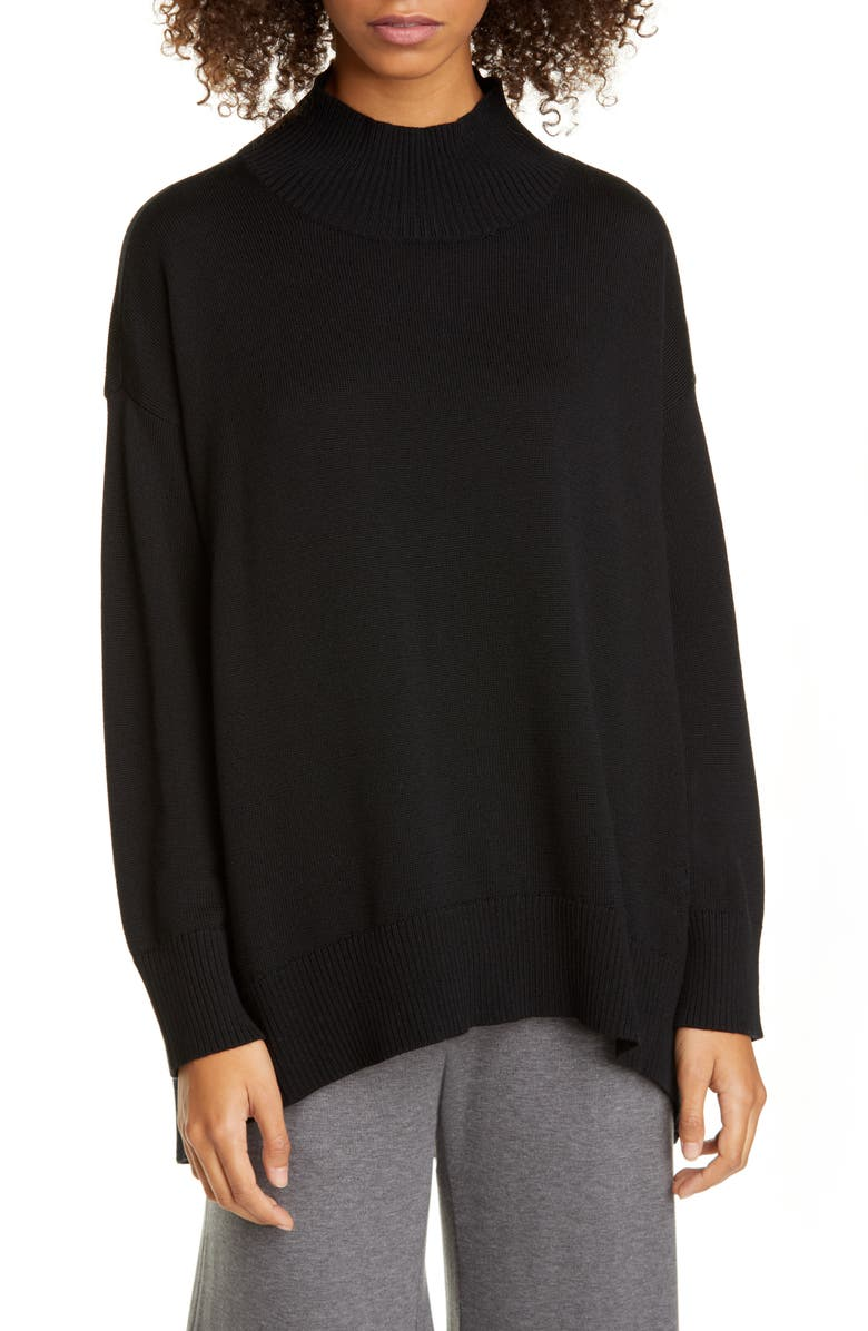 EILEEN FISHER Oversize Mock Neck Sweater, Main, color, 001