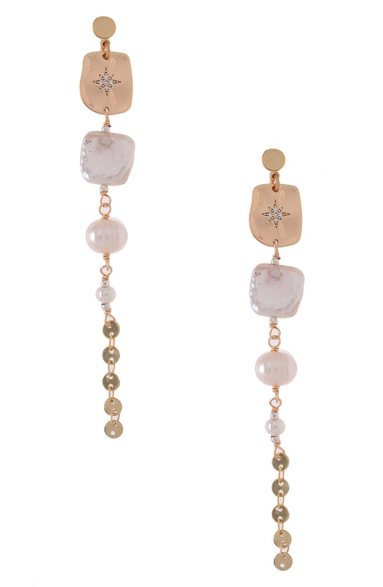 NAKAMOL CHICAGO Freshwater Pearl Linear Drop Earrings, Main, color, WHITE