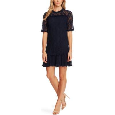 Cece Floral Lace Ruffle Hem A-Line Minidress, Blue