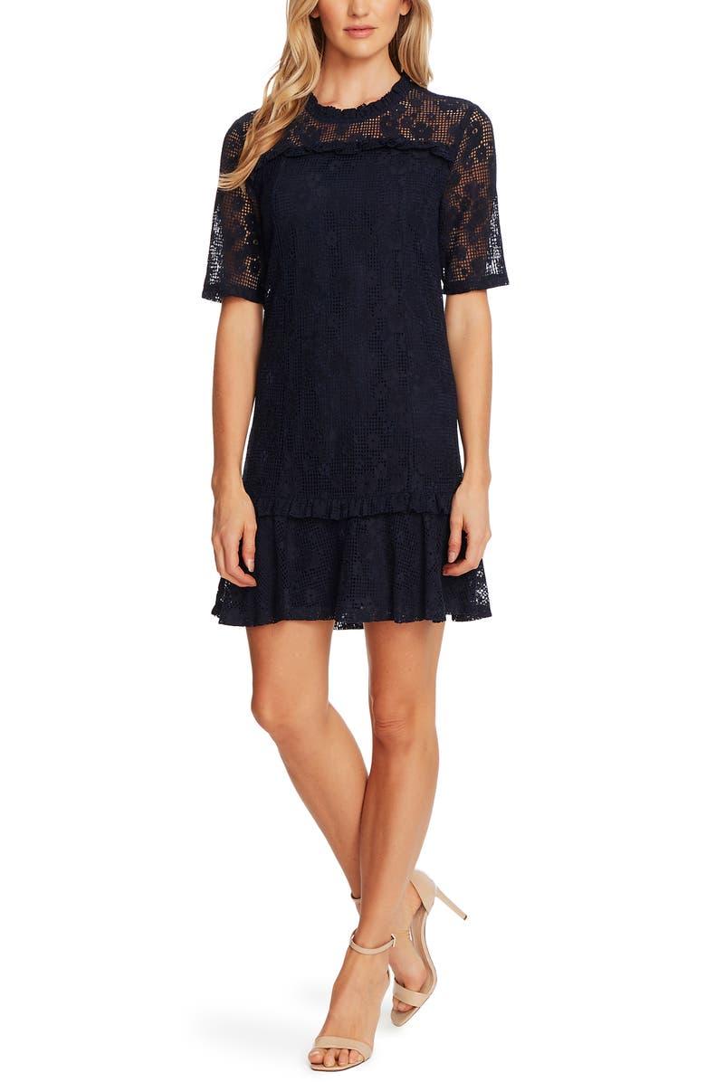 CECE Floral Lace Ruffle Hem A-Line Minidress, Main, color, NIGHT SHADE