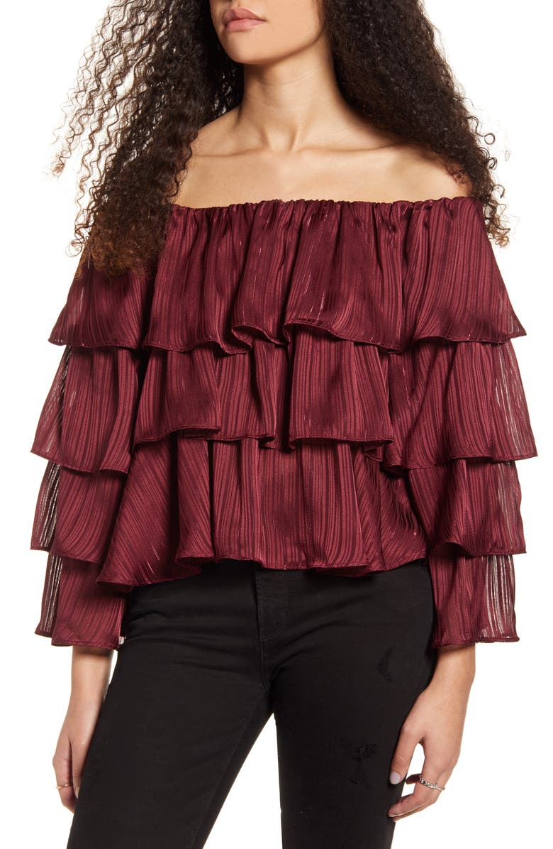 MINKPINK In the Moment Off the Shoulder Ruffle Top, Main, color, 930
