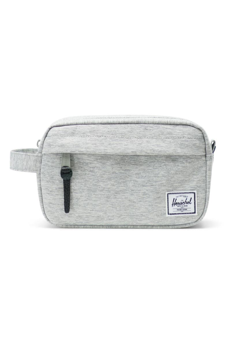 HERSCHEL SUPPLY CO. Chapter Carry-On Dopp Kit, Main, color, LIGHT GREY CROSSHATCH/ GREY