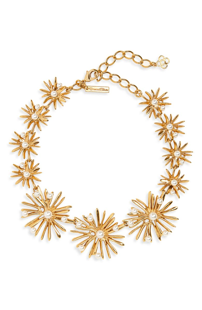 OSCAR DE LA RENTA Imitation Pearl Starburst Collar Necklace, Main, color, GOLD