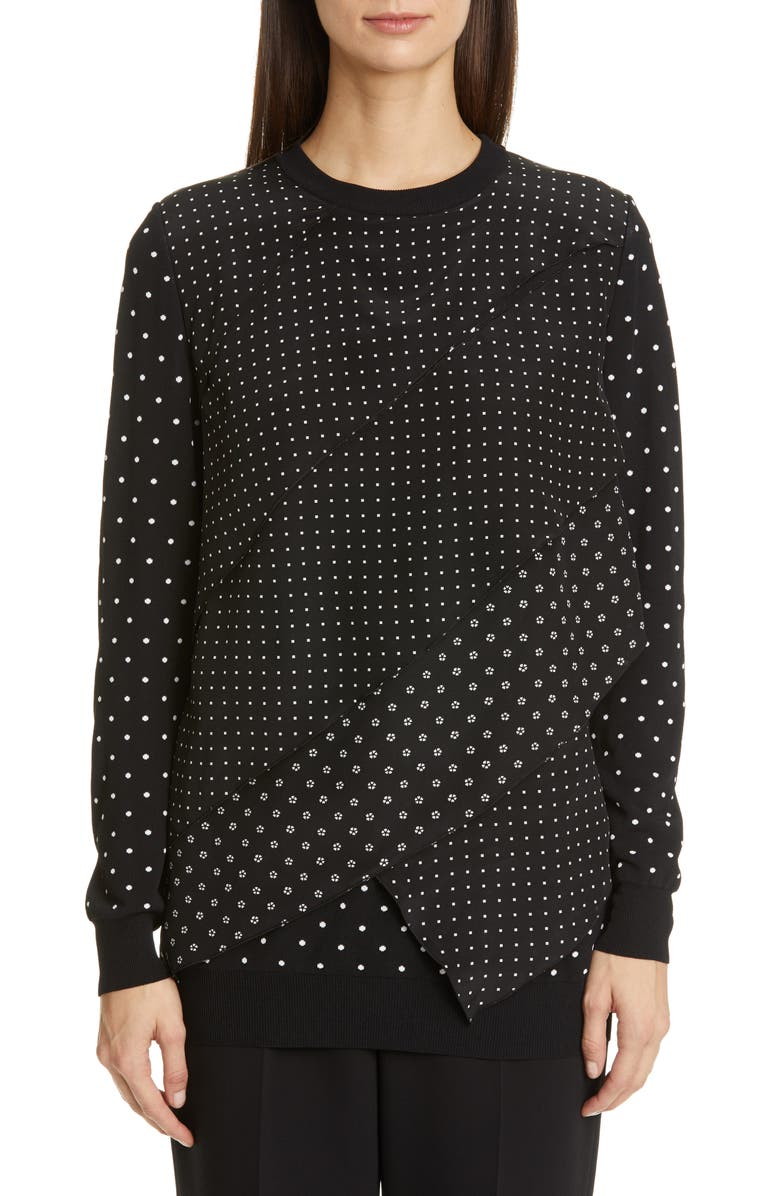 MAX MARA Alex Polka Dot Jacquard Sweater, Main, color, 001