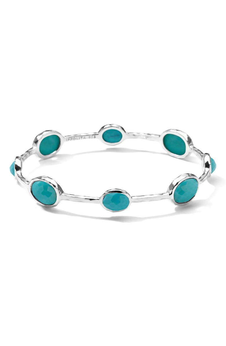 IPPOLITA 'Rock Candy' 8-Stone Sterling Silver Bangle, Main, color, SILVER - TURQUOISE