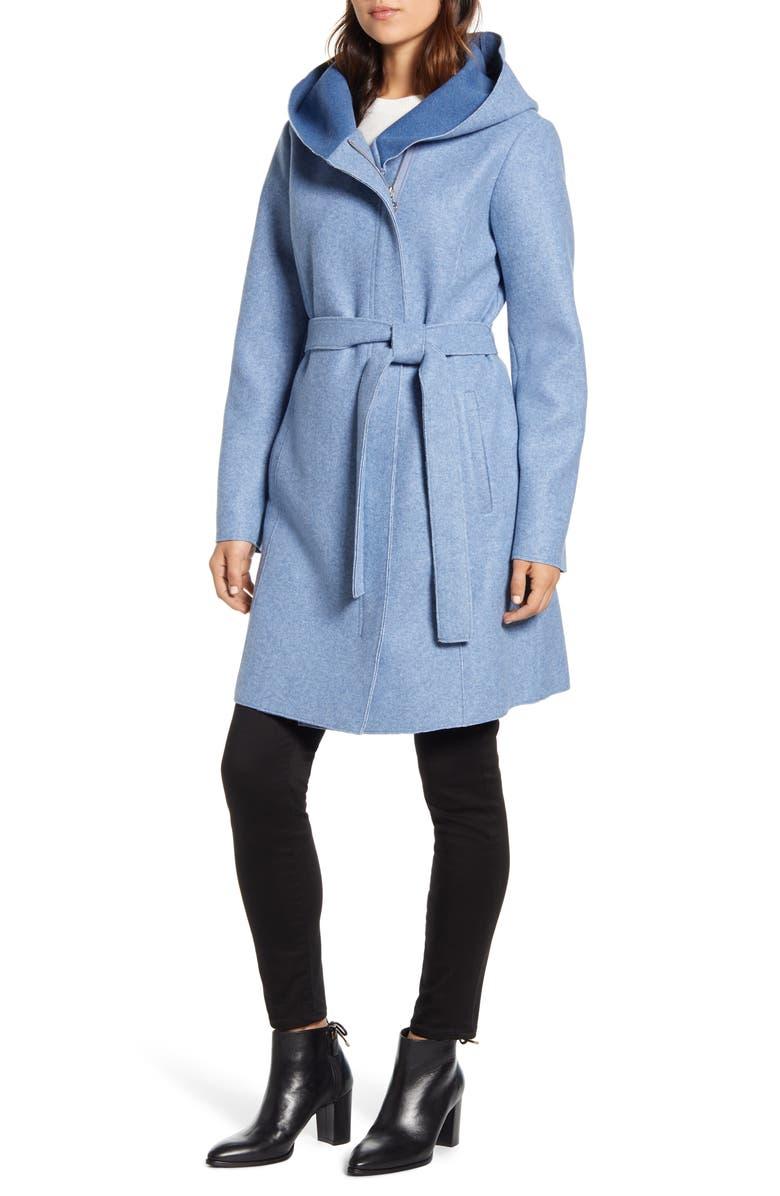 BERNARDO Hooded Faux Wrap Coat, Main, color, BLUE