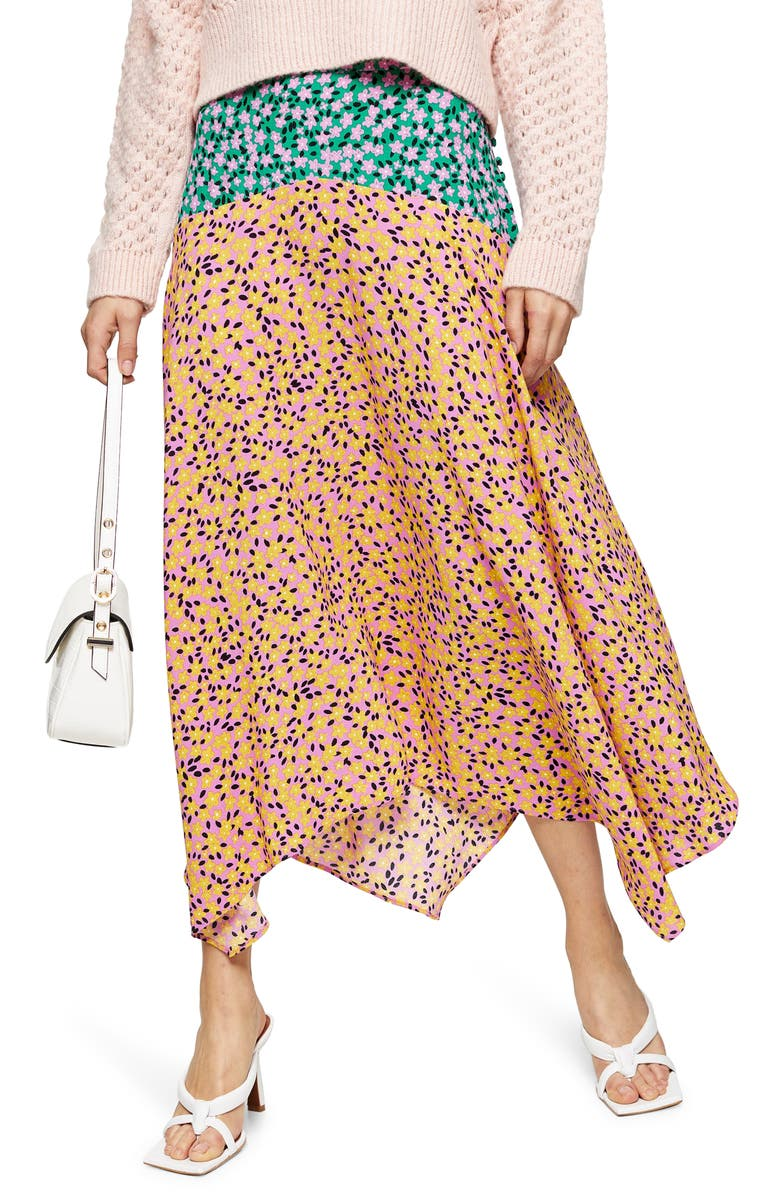 TOPSHOP Thrift Mixed Floral Midi Skirt, Main, color, ORANGE MULTI