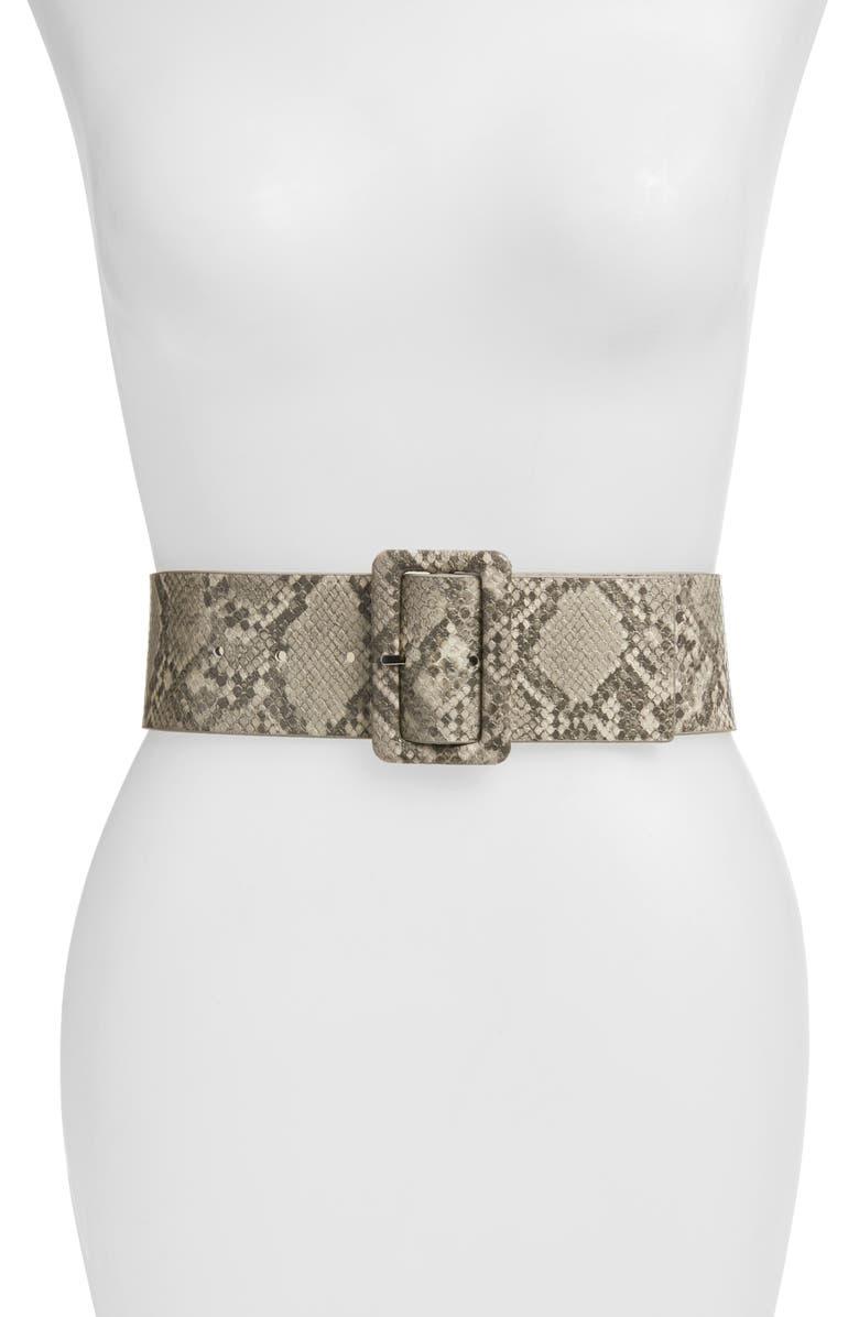 HALOGEN<SUP>®</SUP> Snakeskin Embossed Stretch Belt, Main, color, GREY- COMBO
