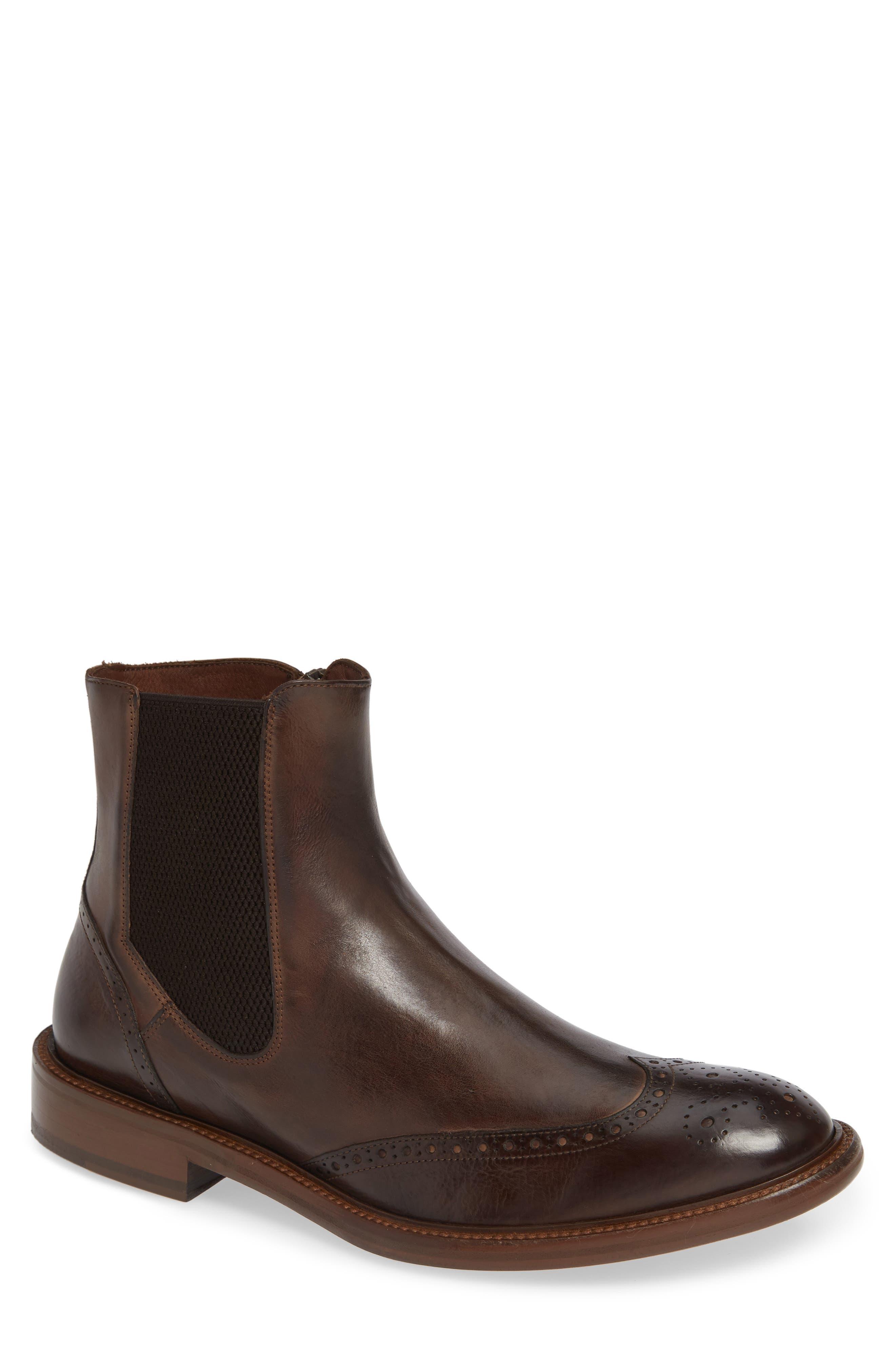 J & m 1850 Bryson Wingtip Chelsea Boot- Brown