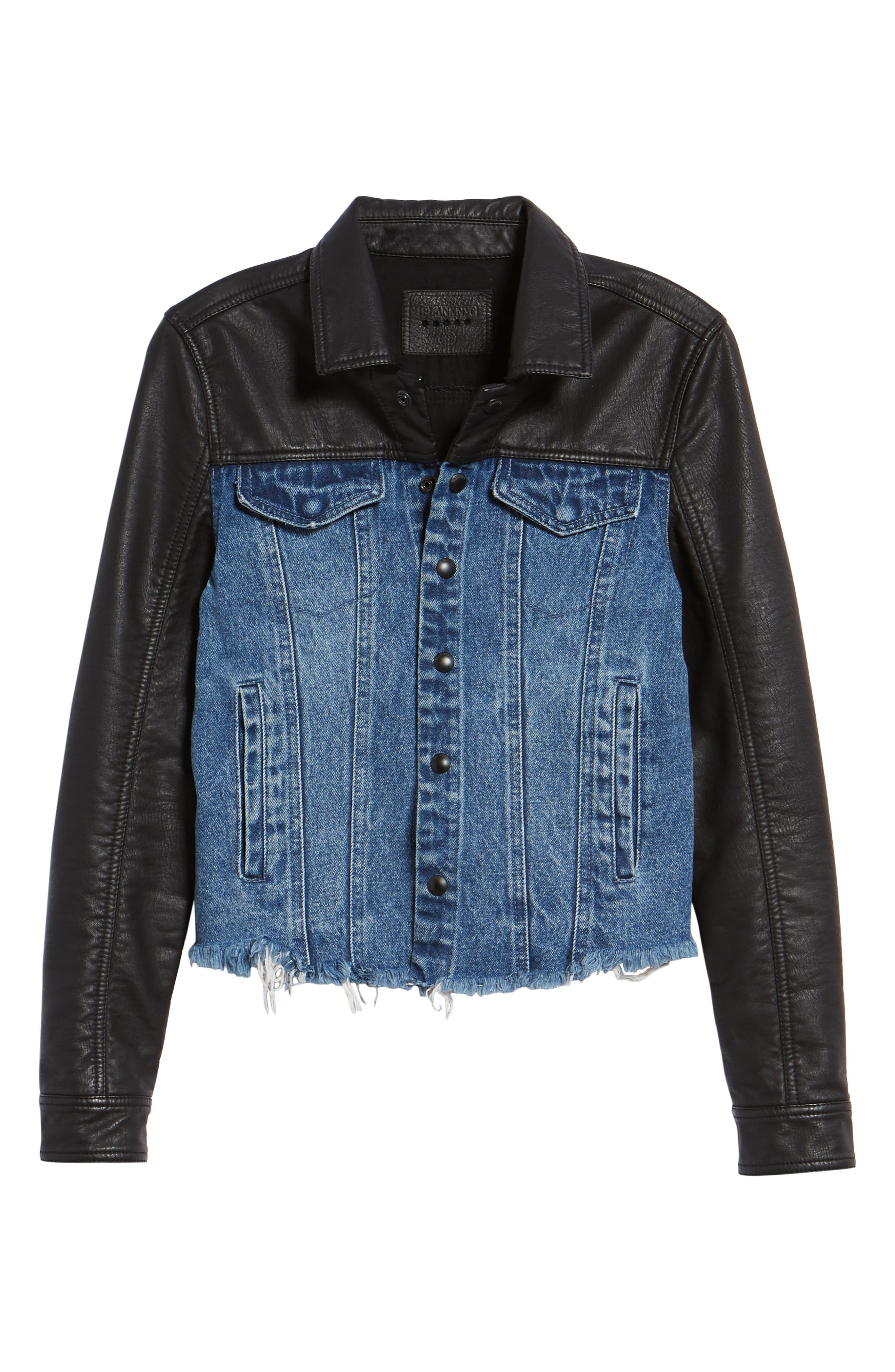 ,                             Faux Leather & Denim Jacket,                             Alternate thumbnail 9, color,                             001