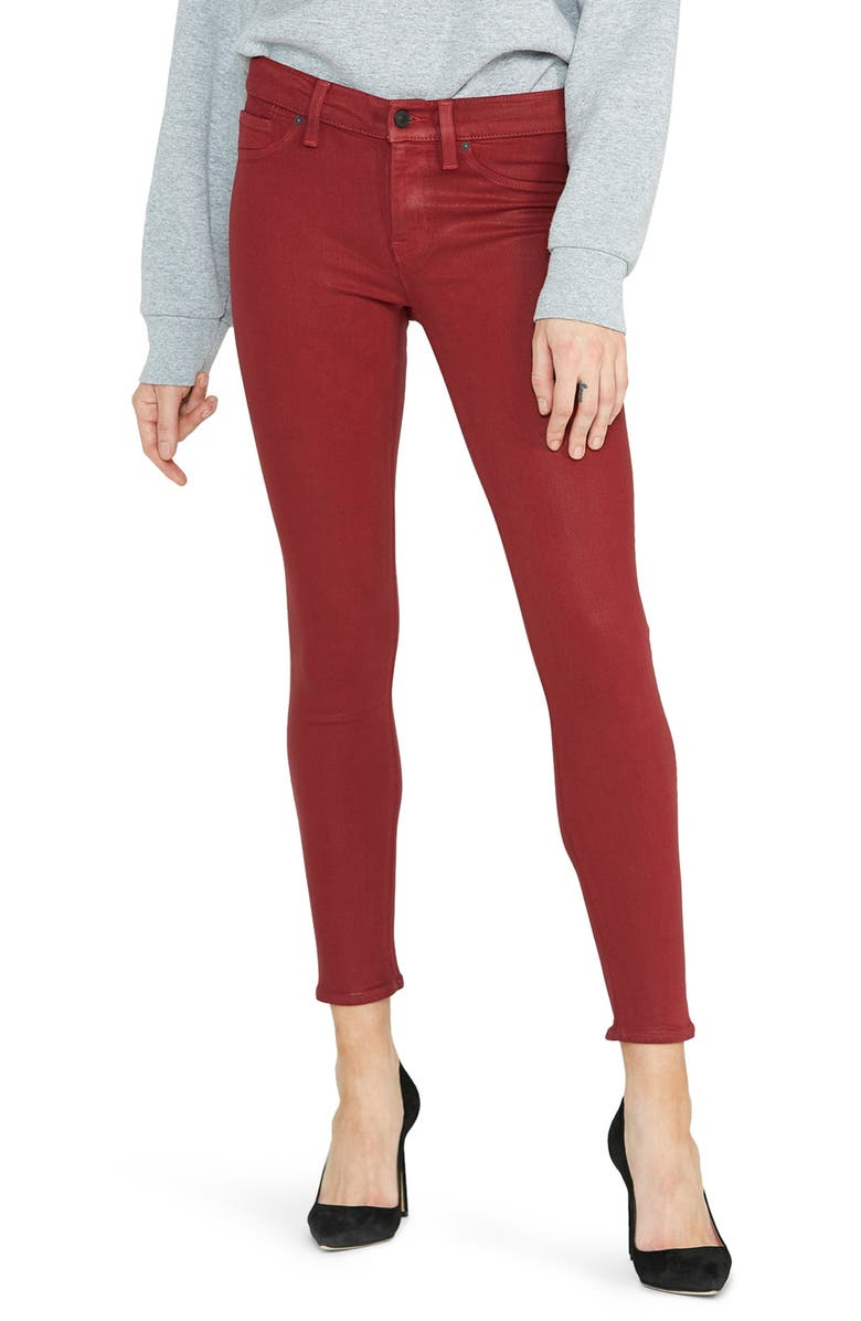 HUDSON JEANS 'Nico' Ankle Coated Skinny Jeans, Main, color, OXBLOOD WAX