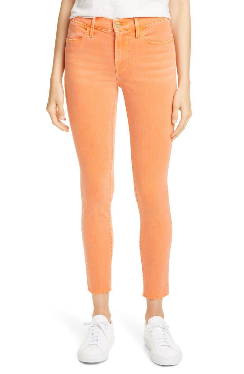FRAME Le High Raw Edge Ankle Skinny Jeans, Main, color, ORANGE CRUSH