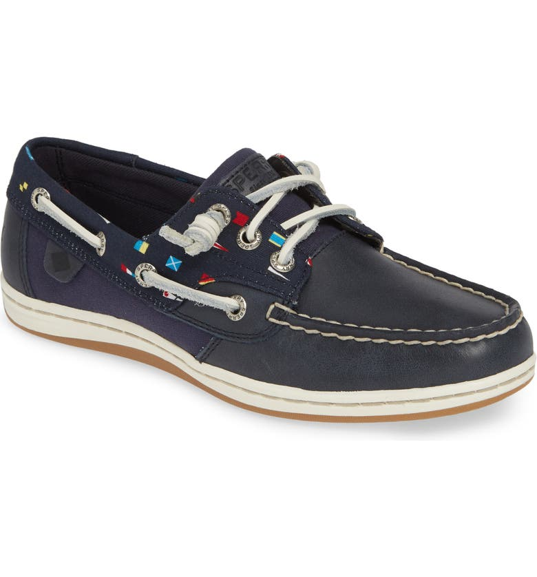 SPERRY 'Songfish' Boat Shoe, Main, color, NAVY/ NAUTICAL FLAGS LEATHER