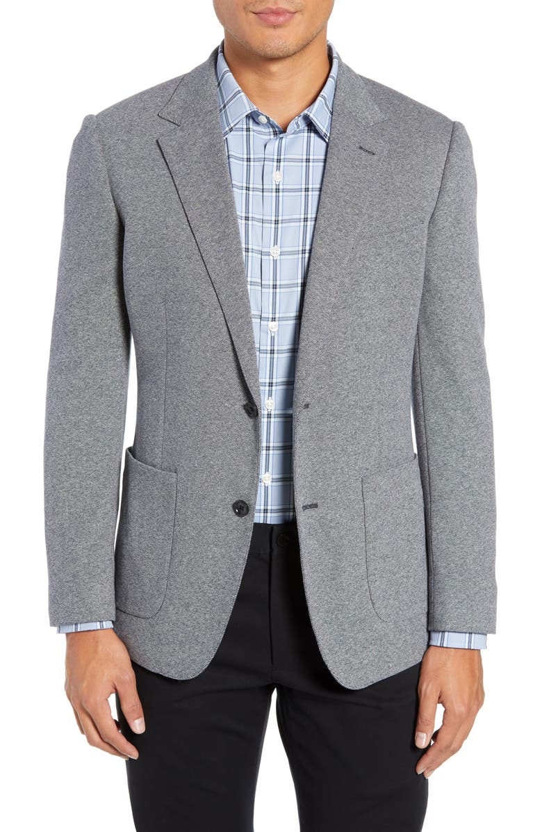 BONOBOS Jetsetter Slim Fit Knit Cotton Sport Coat, Main, color, LIGHT GREY