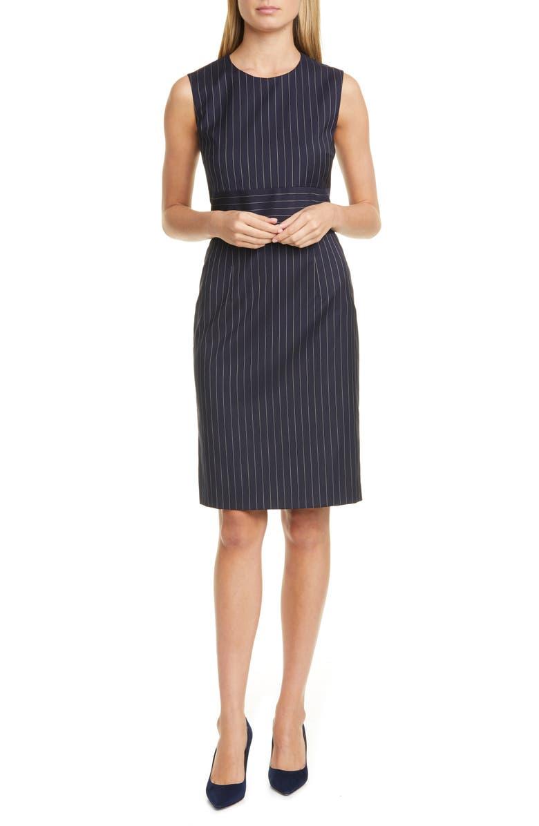 BOSS Dometa Pinstripe Sleeveless Stretch Wool Sheath Dress, Main, color, 001