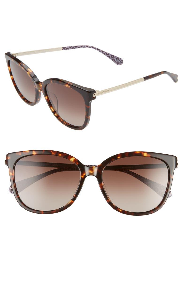 KATE SPADE NEW YORK britton 55mm cat eye sunglasses, Main, color, DARK HAVANA/ BROWN