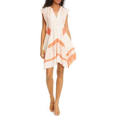 Rebecca Taylor Mixed Print Handkerchief Hem Silk Dress, Orange