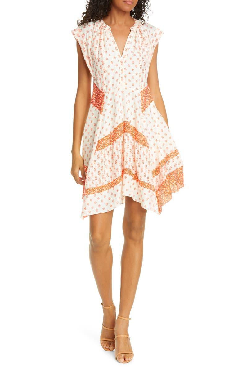 REBECCA TAYLOR Mixed Print Handkerchief Hem Silk Dress, Main, color, TOMATO COMBO