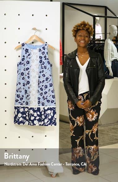 Sleeveless Lace Trim Floral Shift Minidress, sales video thumbnail