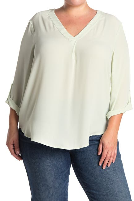 Image of Lush V-Neck Roll Tab Sleeve Woven Top