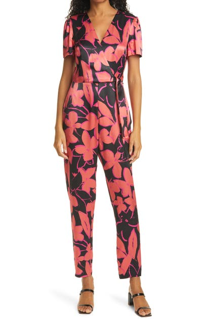 Milly Jumpsuits GARLAND FLORAL SHORT SLEEVE SATIN JUMPSUIT
