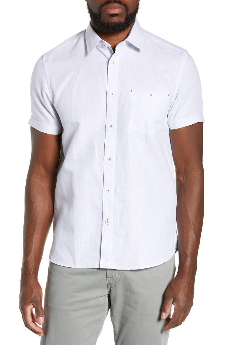 TED BAKER LONDON Graphit Slim Fit Cotton & Linen Shirt, Main, color, GREY