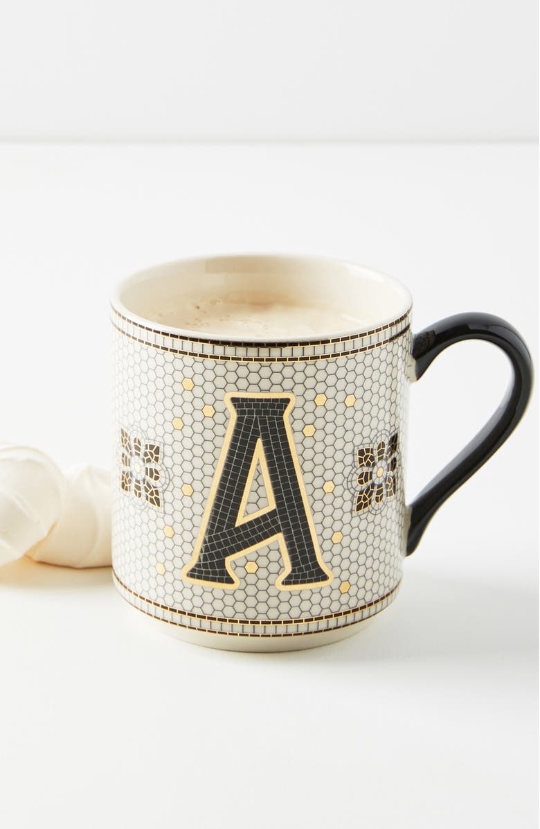 ANTHROPOLOGIE Bistro Monogram Mug, Main, color, A