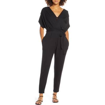 Fraiche By J Open Back Jumpsuit, Black