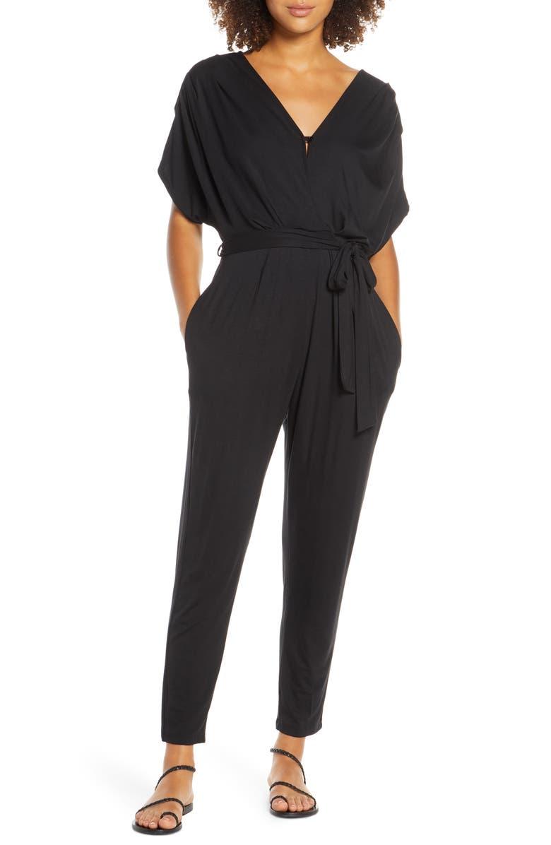 FRAICHE BY J Open Back Jumpsuit, Main, color, BLACK