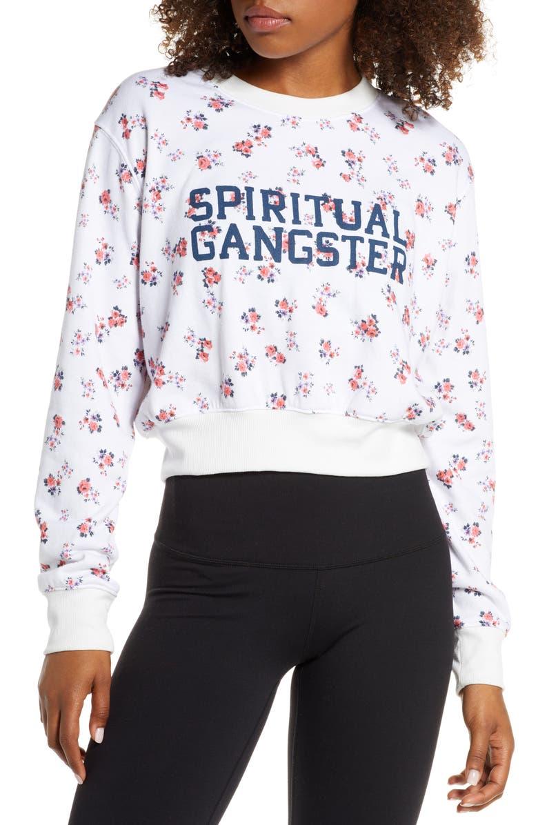 SPIRITUAL GANGSTER Print Crewneck Sweatshirt, Main, color, DITSY BLOS
