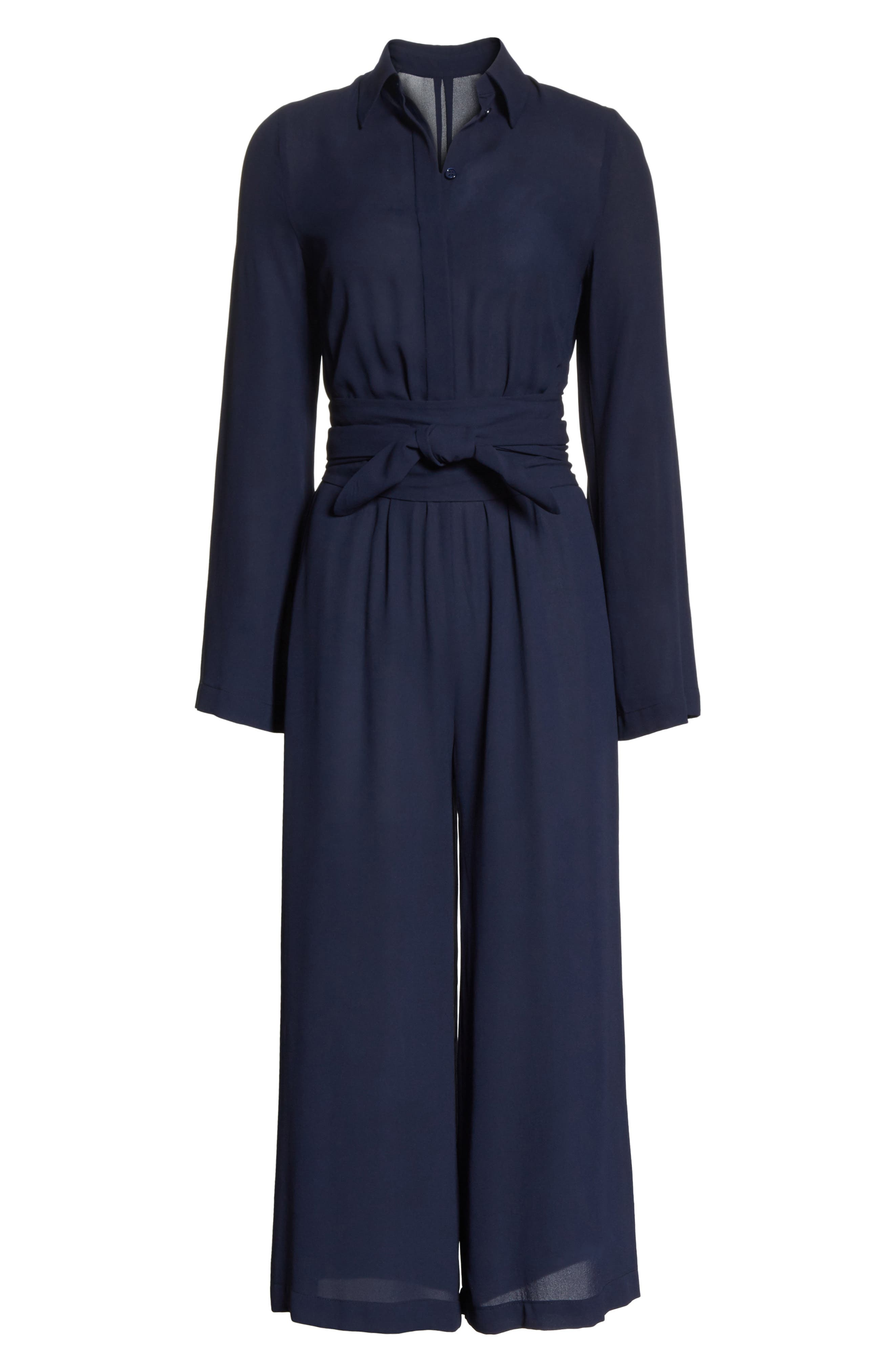 ,                             Belted Silk Jumpsuit,                             Alternate thumbnail 6, color,                             478