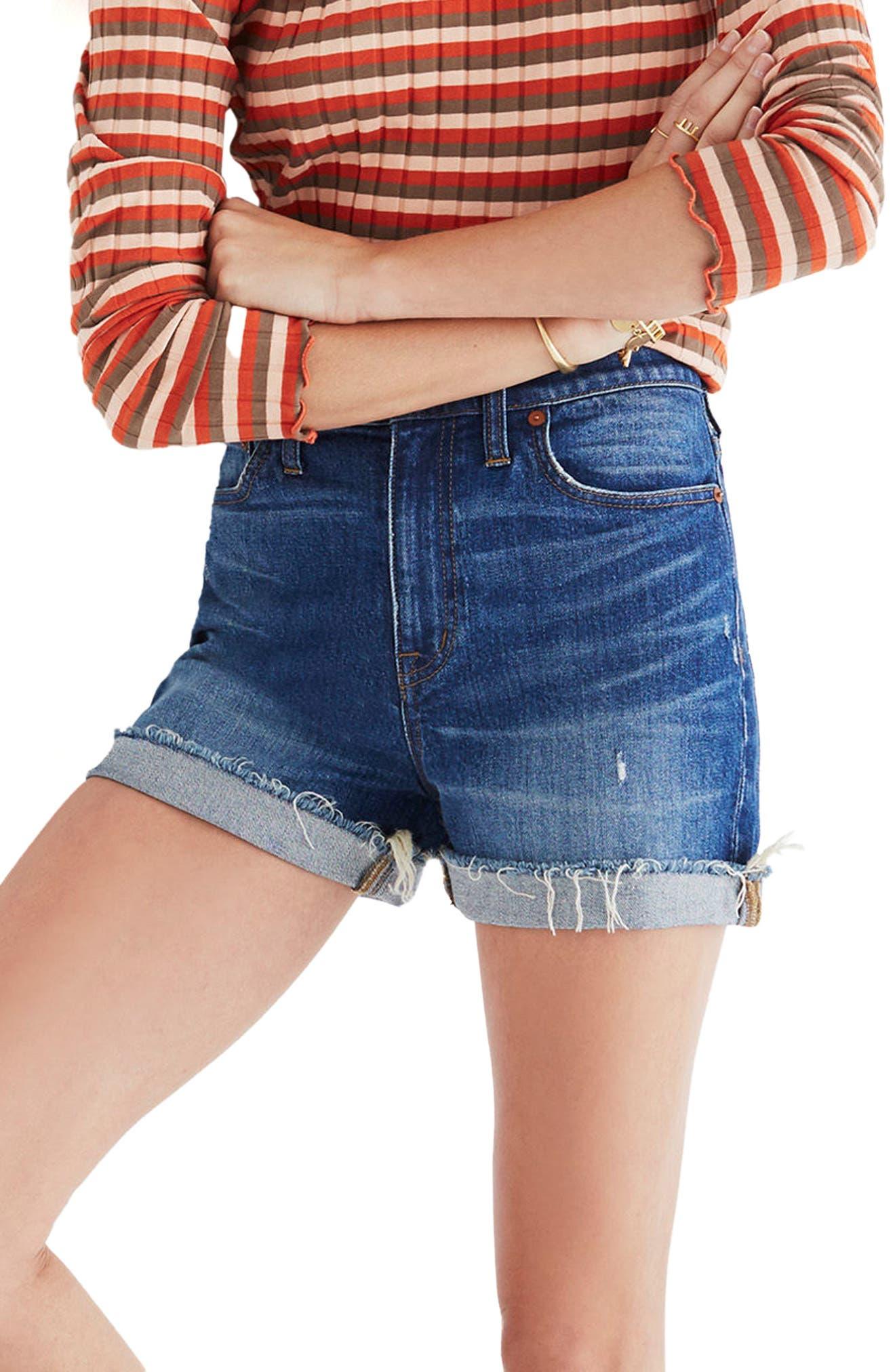 ,                             High Rise Cuffed Denim Shorts,                             Alternate thumbnail 11, color,                             GLEN OAKS