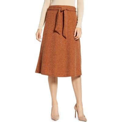 Sentimental Ny Metallic Detail Belted Knit Skirt, Orange