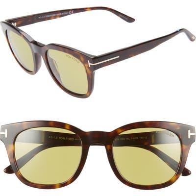 Tom Ford Eugenio 52Mm Sunglasses - Dark Havana/ Green