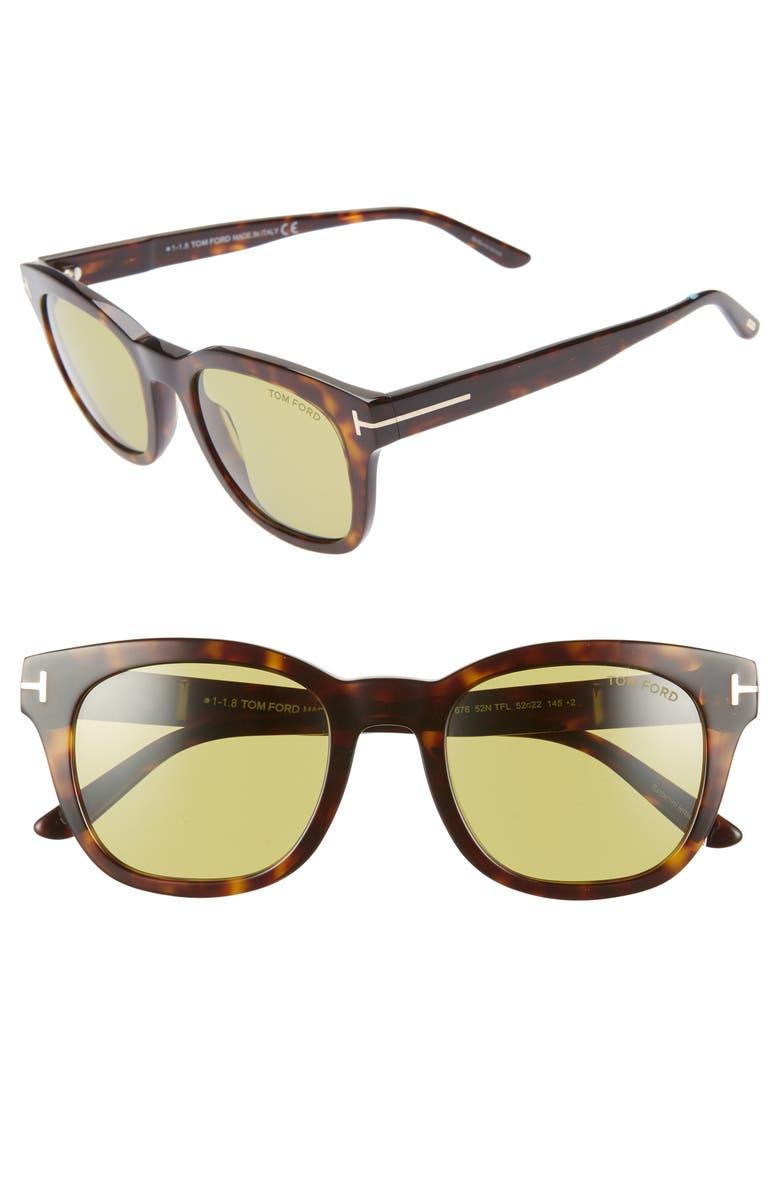 TOM FORD Eugenio 52mm Sunglasses, Main, color, DARK HAVANA/ GREEN