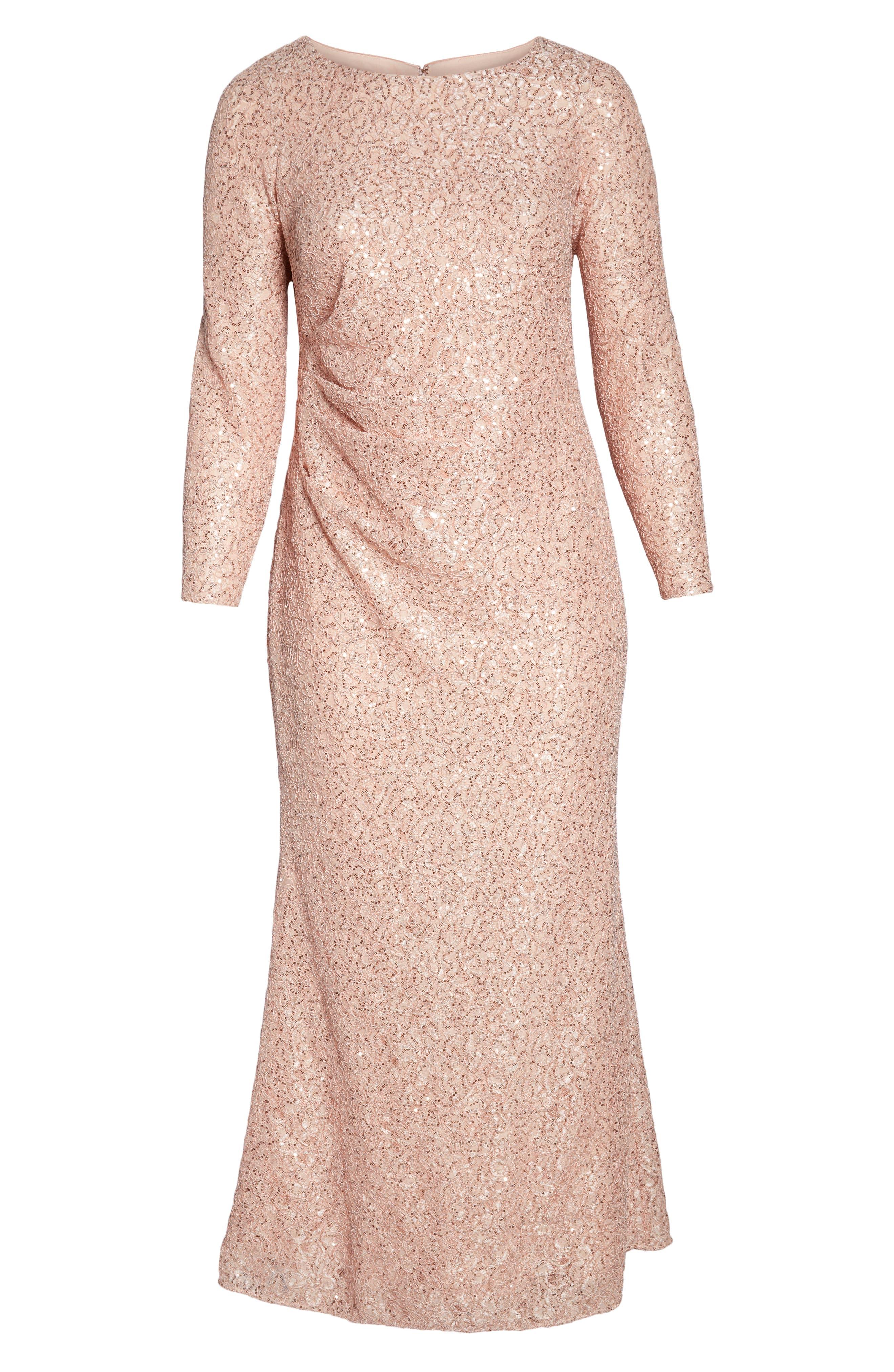 ,                             Sequin Lace Evening Dress,                             Alternate thumbnail 7, color,                             BLUSH