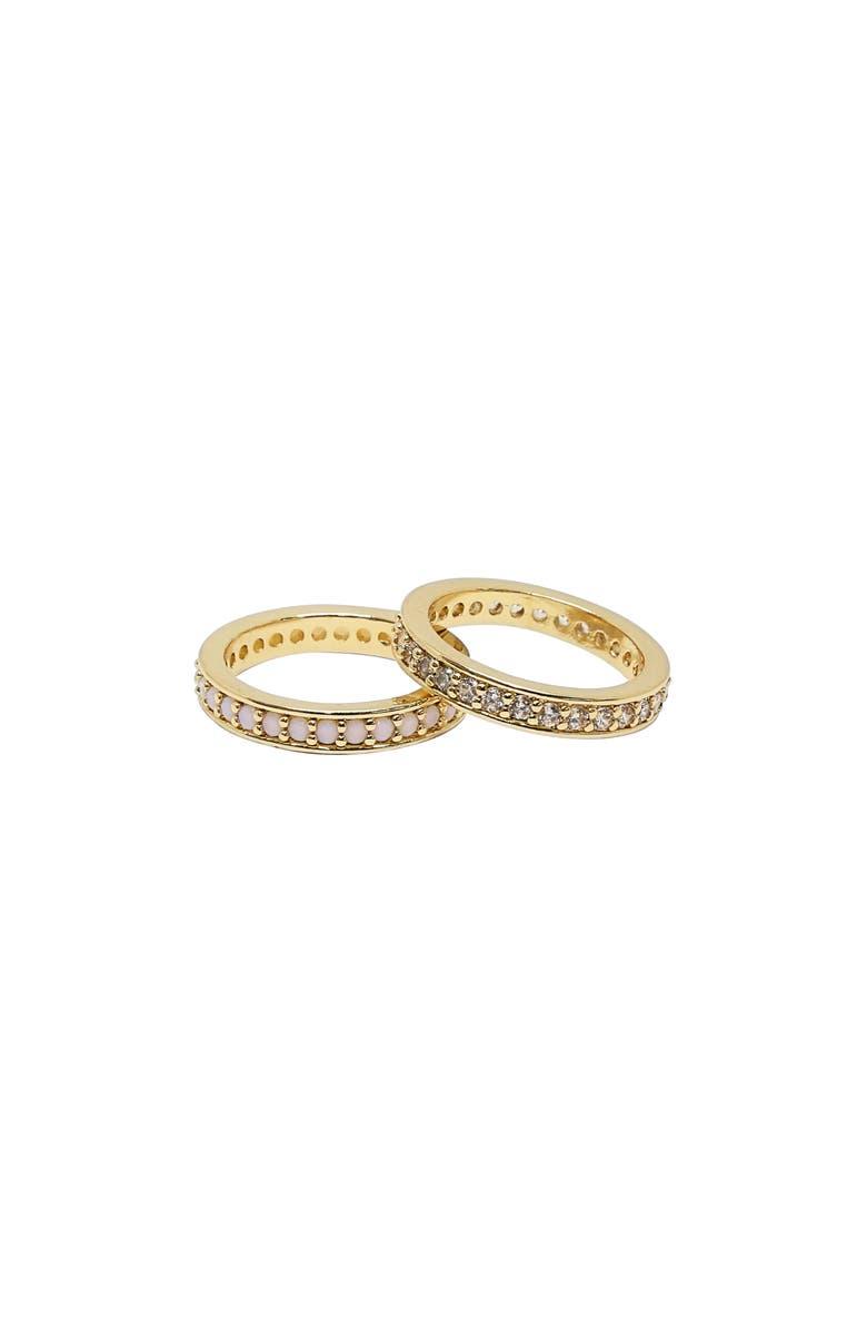 ETTIKA Set of 2 Pavé Rings, Main, color, GOLD