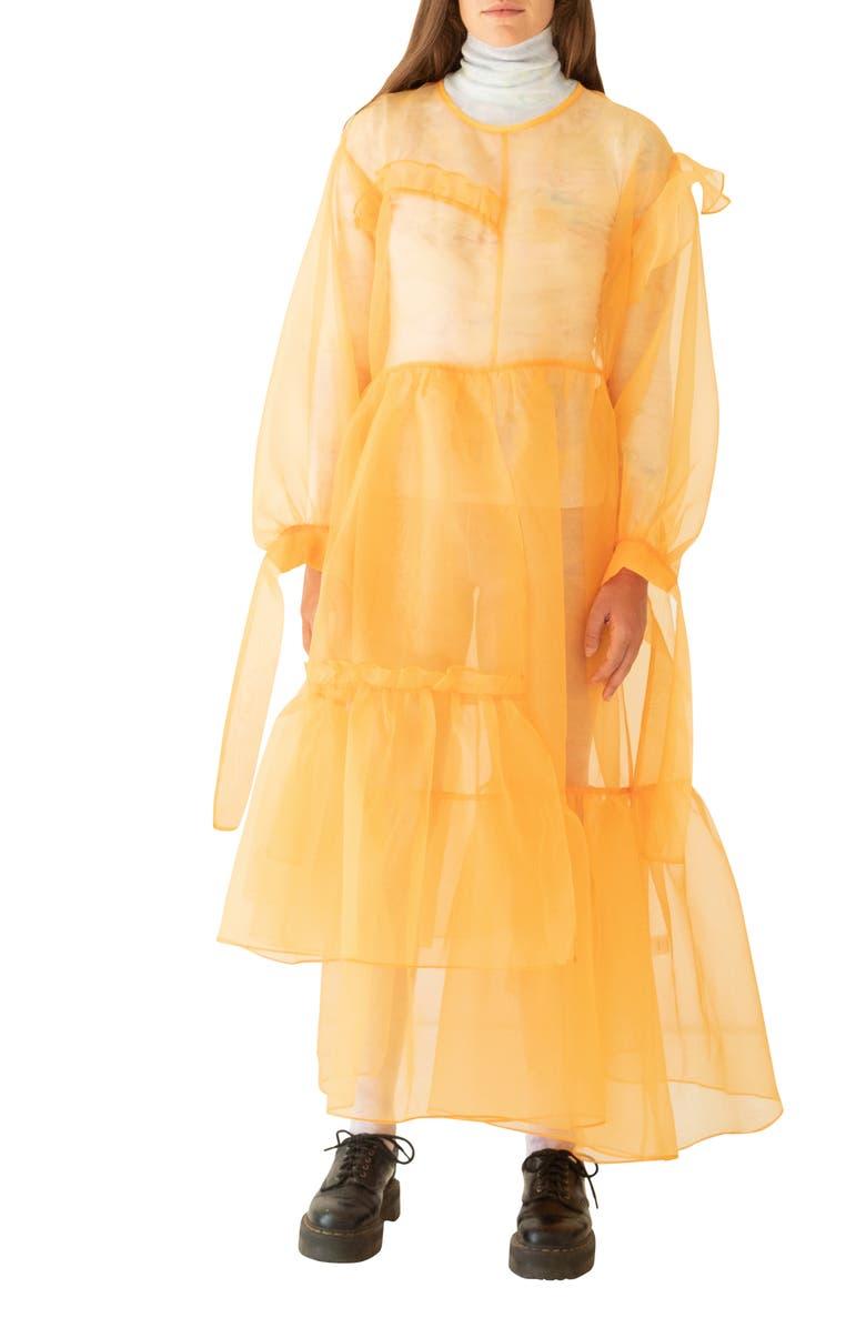 KKCO Nine Twenty-Seven Asymmetrical Ruffle Sheer Organza Dress, Main, color, WHEAT