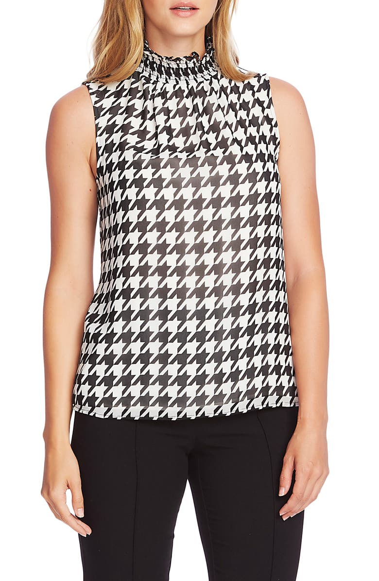 VINCE CAMUTO Ruffle Neck Sleeveless Top, Main, color, RICH BLACK