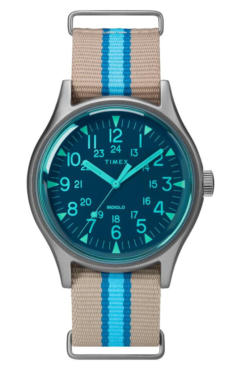 TIMEX<SUP>®</SUP> MK1 Nylon Strap Watch, 40mm, Main, color, TAN/ BLUE/ GREY