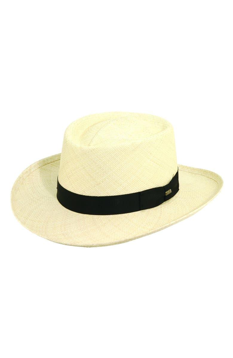 SCALA Panama Straw Gambler Hat, Main, color, 101