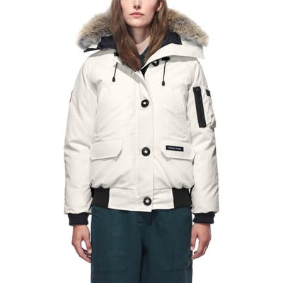 Canada Goose Chilliwack Hooded Down Bomber Jacket With Genuine Coyote Fur Trim, (0) - Ivory