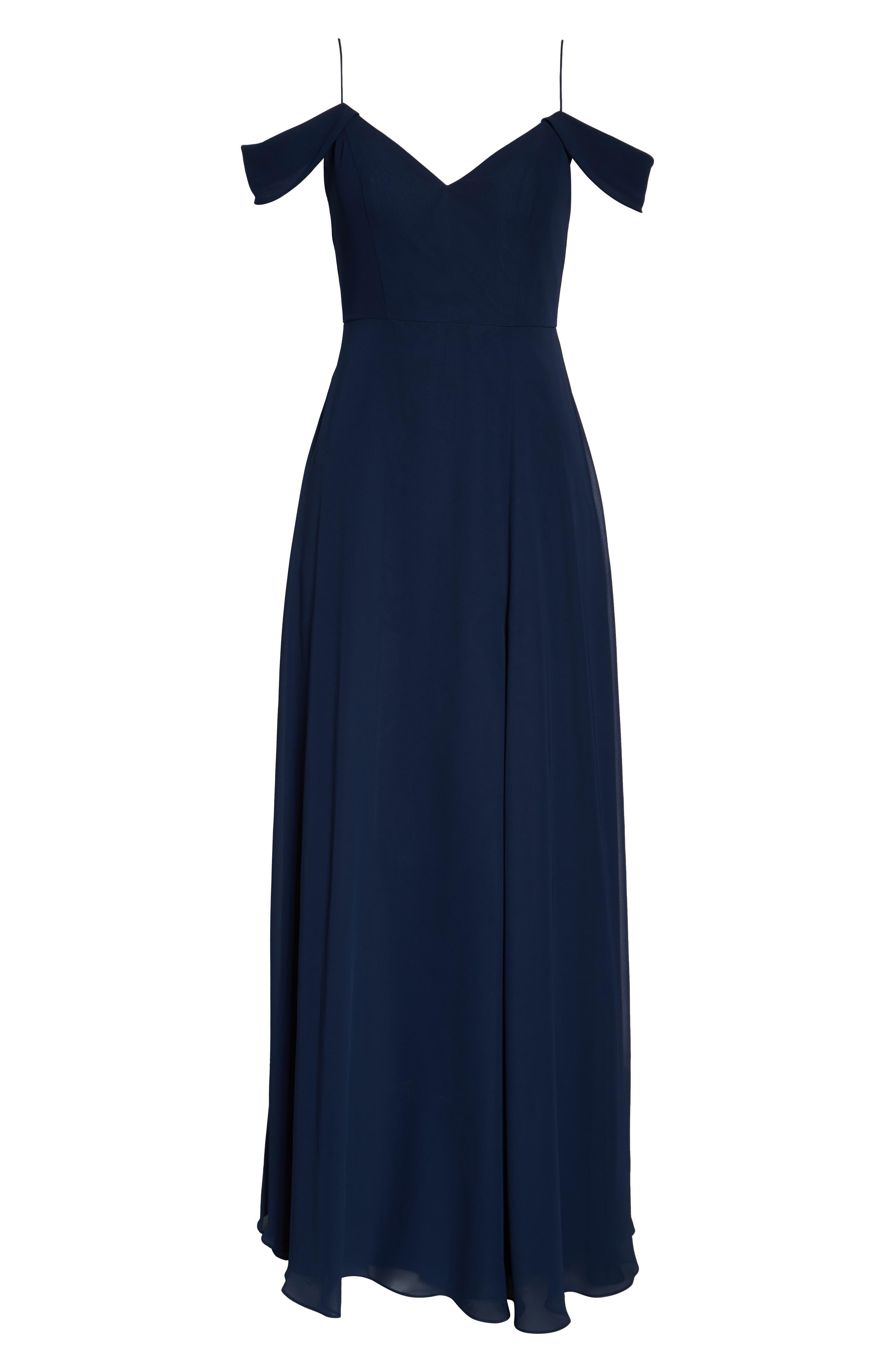 ,                             Priya Cold Shoulder Chiffon Evening Dress,                             Alternate thumbnail 7, color,                             NAVY