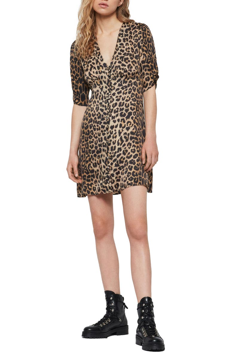 ALLSAINTS Kota Leppo Print Dress, Main, color, LEOPARD YELLOW