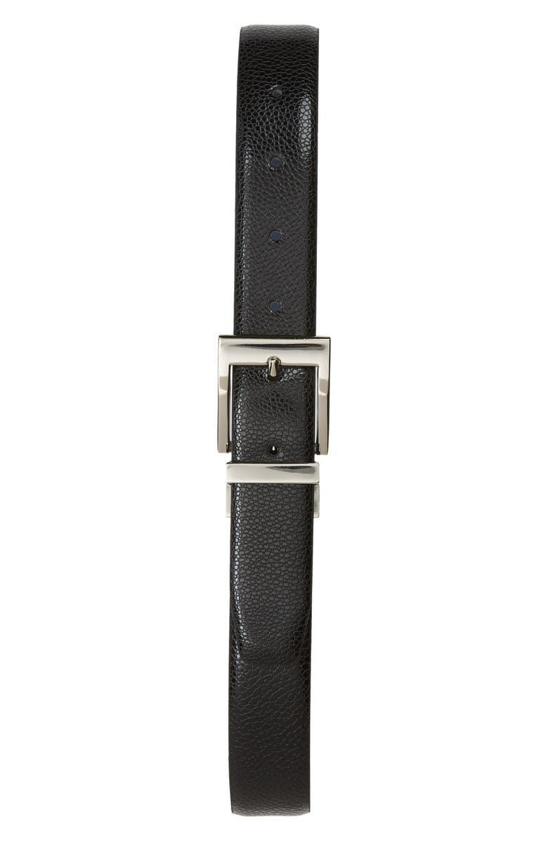 TALLIA Leather Belt, Main, color, BLACK REVERSES TO BLUE