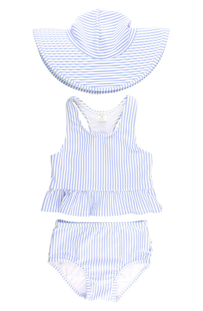 RUFFLEBUTTS Two-Piece Swimsuit & Hat Set, Main, color, BLUE