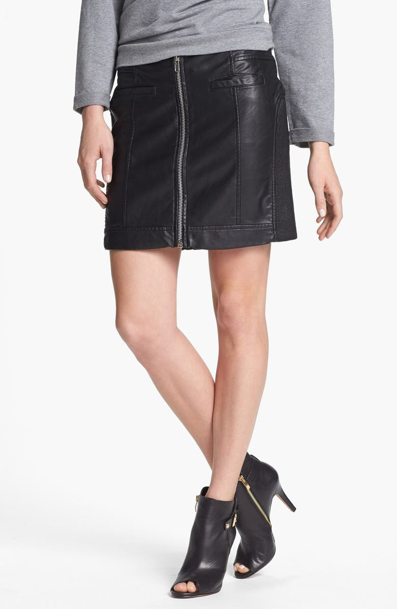 TWO BY VINCE CAMUTO Faux Leather Moto Miniskirt, Main, color, 001